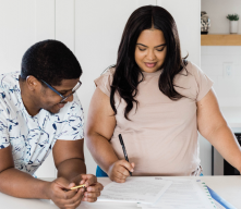 Couple looking at paperwork
